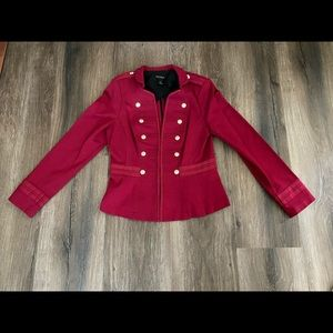 White House Black Market Red Military Style Jacket